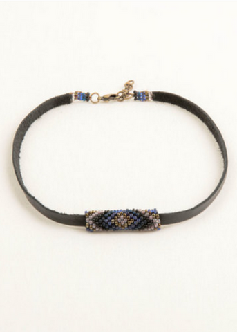 Leather Choker- Denim