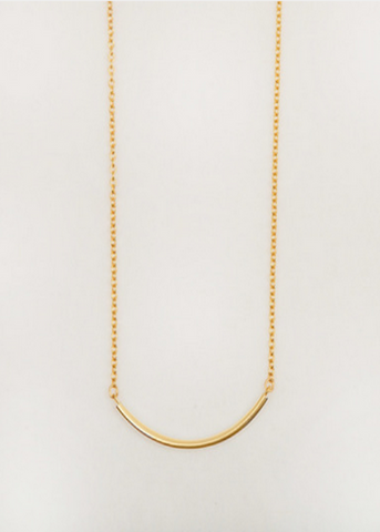 Curved Bar Necklace- Gold