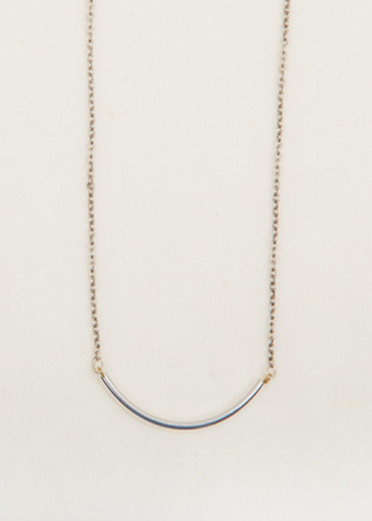 Curved Bar Necklace- Silver