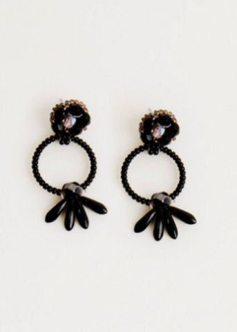 Bloom Post Earrings- Black