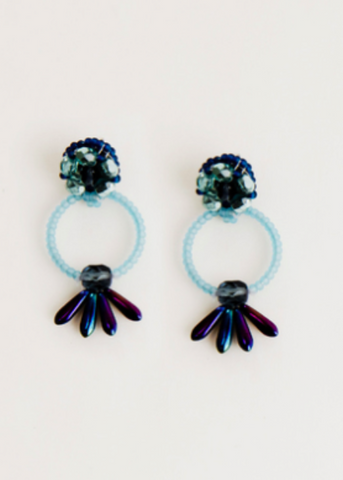 Bloom Post Earrings- Blue