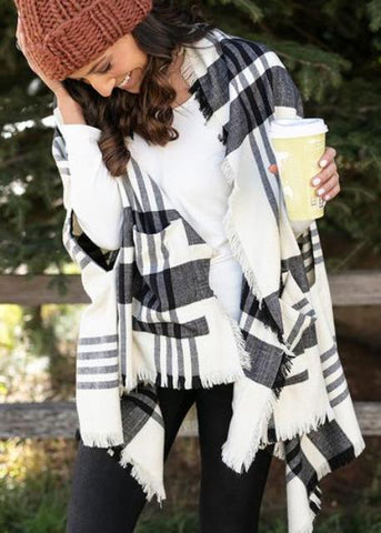 Pocket Poncho Scarf- Winter Weight in Black & White