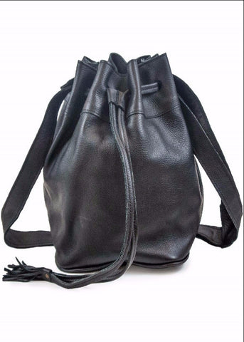Drawstring Satchel- Pebbled Black