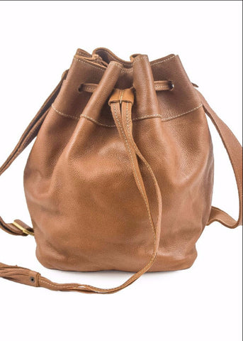 Drawstring Satchel- Caramel Leather