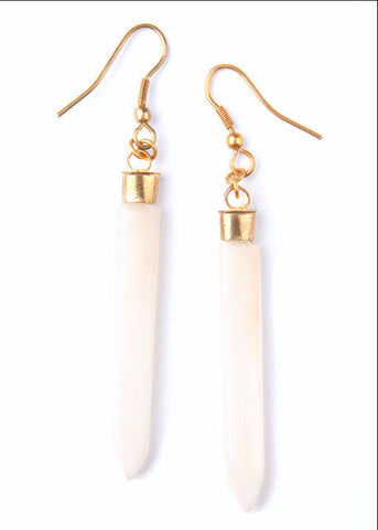 Layered Spike Earrings- Cream