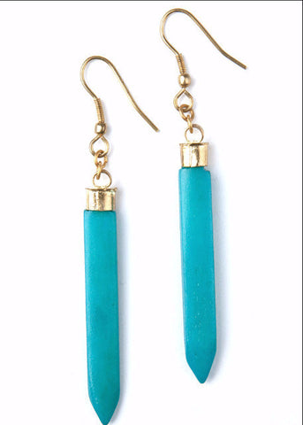 Layered Spike Earrings- Teal