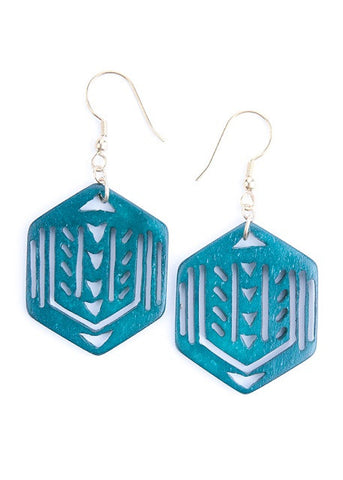Hex Cut Out Earrings-Emerald
