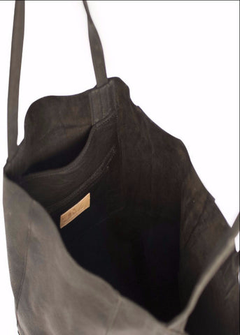 Black Milled Leather Bucket Bag
