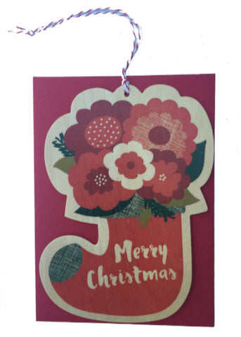 Wooden Christmas Card Ornament- Floral Stocking