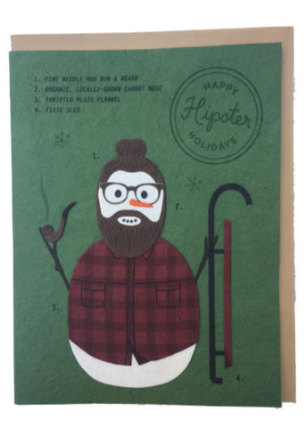 Hipster Snowman Holiday Card