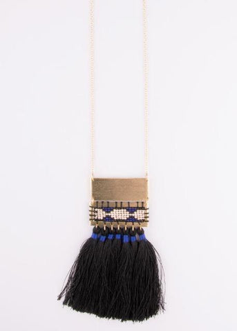 Boho Tassel Necklace- Black