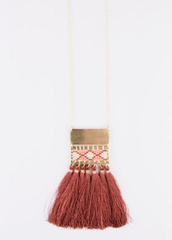 Boho Tassel Necklace- Rose