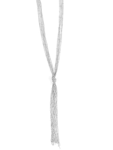 Knotted Fringe Necklace- Silver