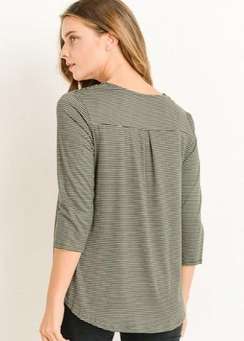Savannah Stripe Top- Green