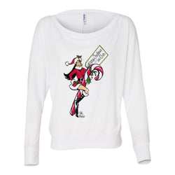 Cartoon Cher Off-Shoulder Long Sleeve Shirt
