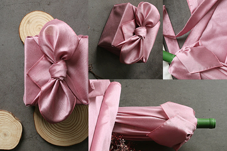 Made for a princess, this deep coral fabric wrapping paper is great for a baby girl Doljanchi.