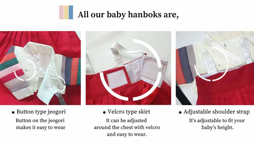 Buttons and Velcro are the best options for a baby girl hanbok in lemon and crimson. It makes baby girl feel comfortable and snuggly.