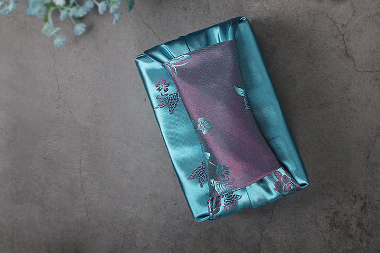 Sky blue and charcoal floral double sided Bojagi wrapping will brighten up any gift-giving situation. Any male or female that receives a gift wrapped in this classy wrapping paper will feel special and extra joyful.