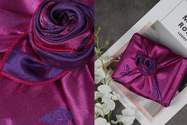 Look at how attention-getting this decorative knot is on this perse and plum Korean Bojagi cloth.