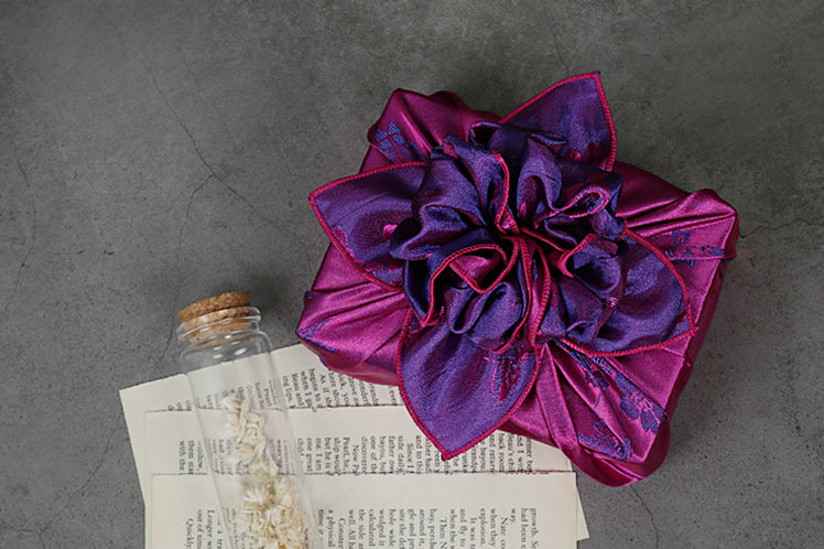 This pomegranite and wine colored Bojagi for sale is a wonderful and enchanting way to wrap any present, such as for Parent's Day or Seollal.