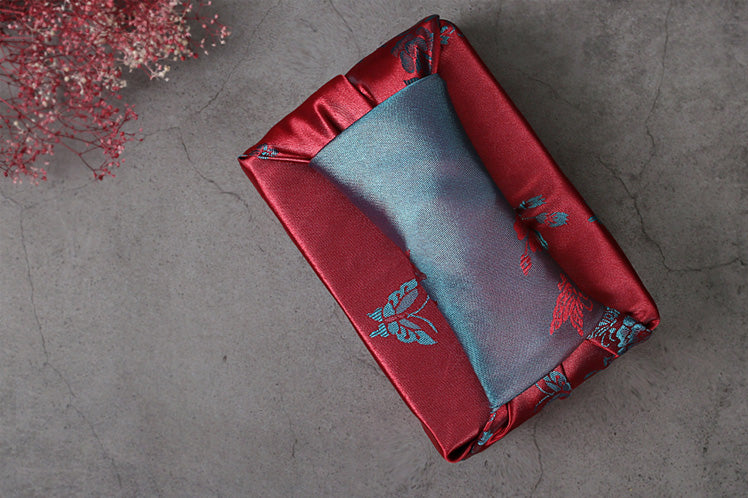 This crimson and cyan floral double sided Bojagi makes for a unique and beautiful wrapping cloth for any Korean tradition.