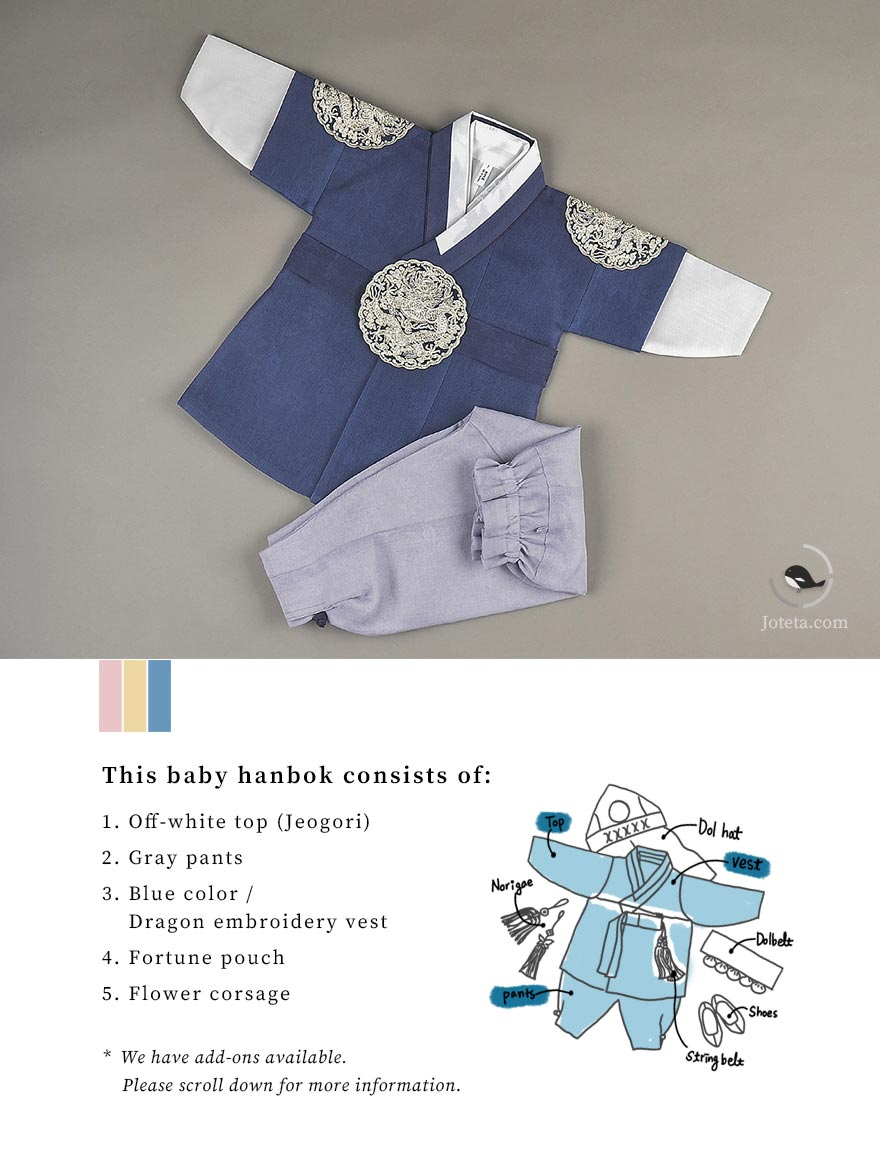 This baby boy hanbok carries the design of kings in the past. This hanbok is in navy and sells out frequently. Get yours before it's too late! We also have this in stock in our location in Los Angeles.
