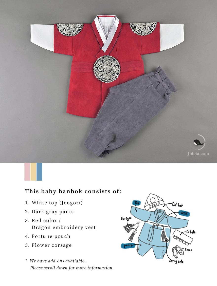 This specific baby boy hanbok was the style worn by kings in Korea. It's a representation of royalty and gives off that impression to those who are familiar with Korean culture. The embroidery also further the look of luxury of this hanbok.