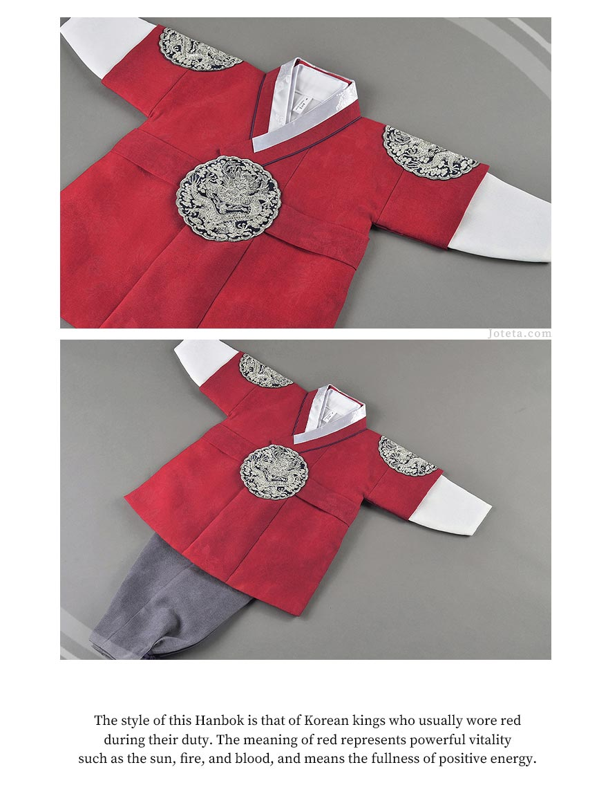This hanbok is one of our most popular designs because it closely resembles the traditional look of Korean hanboks in the past worn by kings. Most mothers want to give their son the best so they opt to this style that resembles a king.