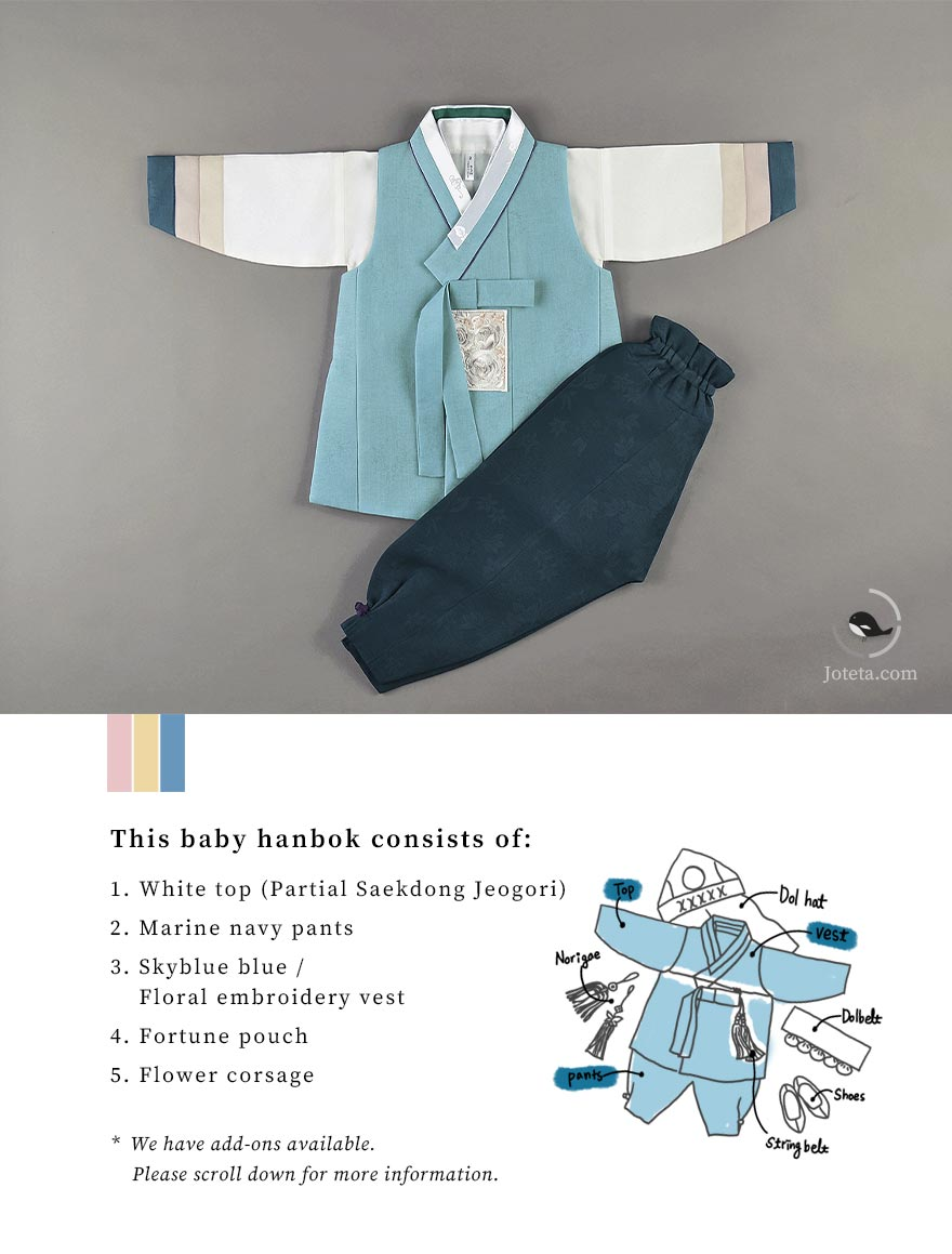 Top piece of the baby boy hanbok in skyblue. There are two photos here that clearly depict the hanbok so that viewers understand and see what they are purchasing. The hanboks here have a saekdong jeogori twith 3 stripes of color.