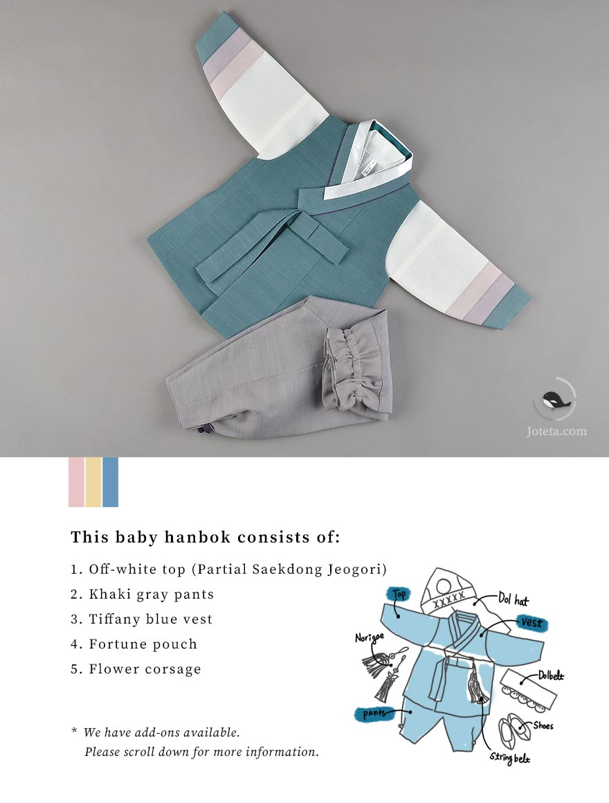 Meticulous description of our baby hanbok for sale on Joteta. This hanbok is frequently used by babies who are celebrating their baek-il and our 100 day size often runs out. So we highly suggest our customers to purchase this as soon as possible to avoid the possibility of not being able to get desired style.
