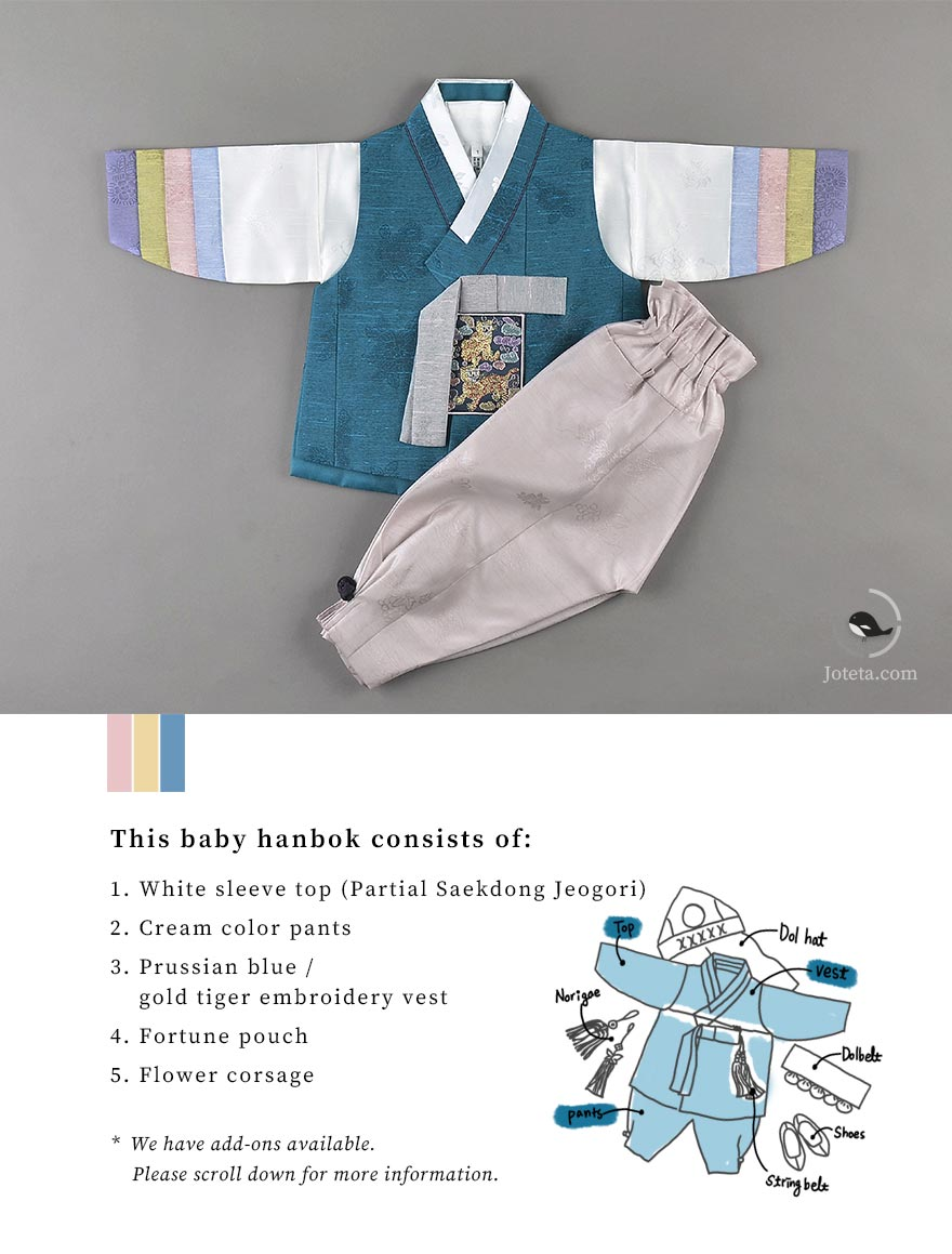 This hanbok comes with a unique partial Saekdong Jeogori that differentiates it from our other styles. Recently, we've seen an increase in demand for this select style. It is definitely one of our more popular baby boy hanboks in America.