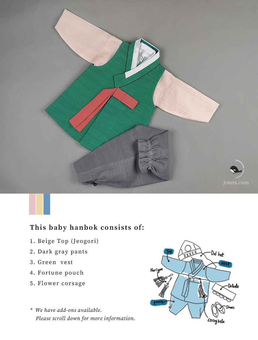 List of items that comes with our baby hanbok for sale on Joteta. There's also the option of adding one of two add-ons that we provide in the option list on Joteta.com.
