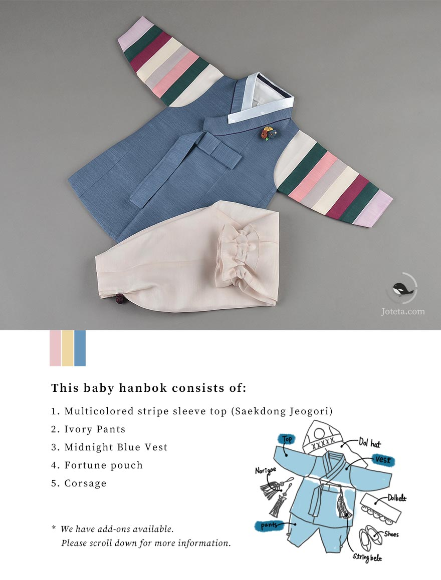 The colored stripes on the sleeve of this hanbok beautifully matches the hanbok. Parents are in a traditional Korean setting with the baby as the center piece of the picture in their aesthetic hanbok from Joteta.