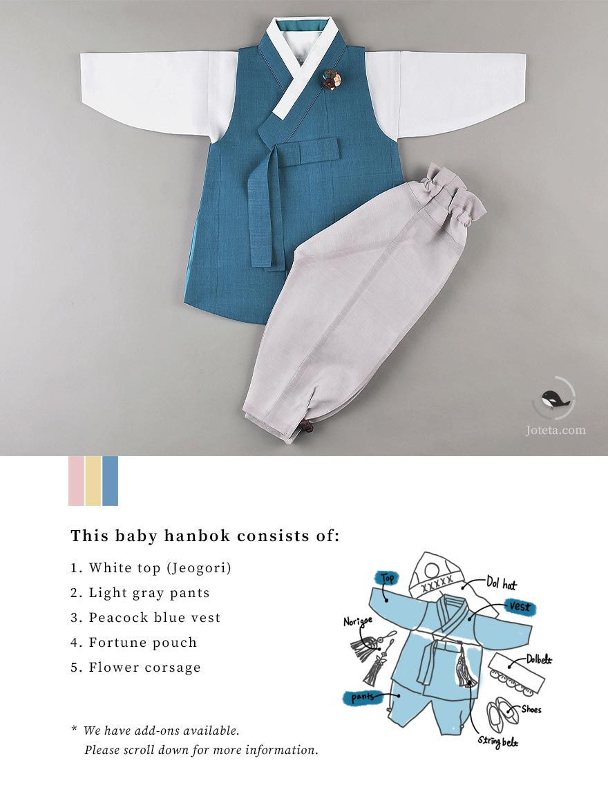 Hanbok for baby boys that greatly bestows blessing to the baby. Most Korean traditions are to celebrate the baby so a hanbok that does the same is often picked. This is determined by the embroidery on the hanbok, which this select style carries.