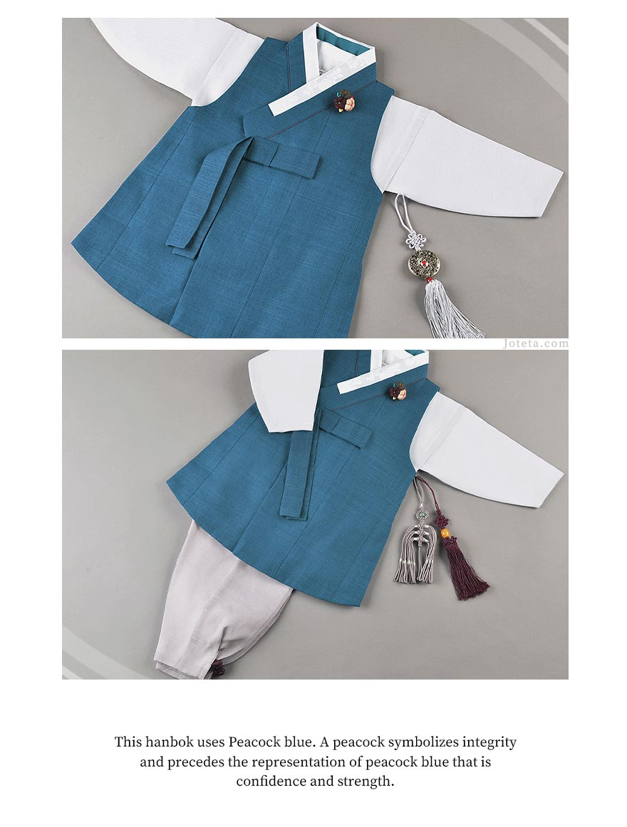 Baby Boy Dol Hanbok worn for Doljanchi by an Korean American baby boy. While wearing this hanbok, the baby celebrates his first korean birthday party and is being adored by many family friends and extended family members.