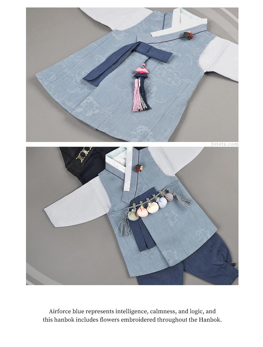 This hanbok is in airforce blue and is one of the more popular designs in our baby boy hanbok selection. The matte look of this hanbok is appealing to Korean mothers who are looking to dress their baby for their special day, either Dol or Baek-il.