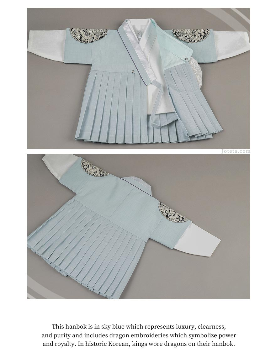 White Jeogori sits inside the skyblue vest. The white jeogori is a clean look which is why we paired it with this baby hanbok. Baby wearing it looks ready to take on the crown and tackle any future endeavor.