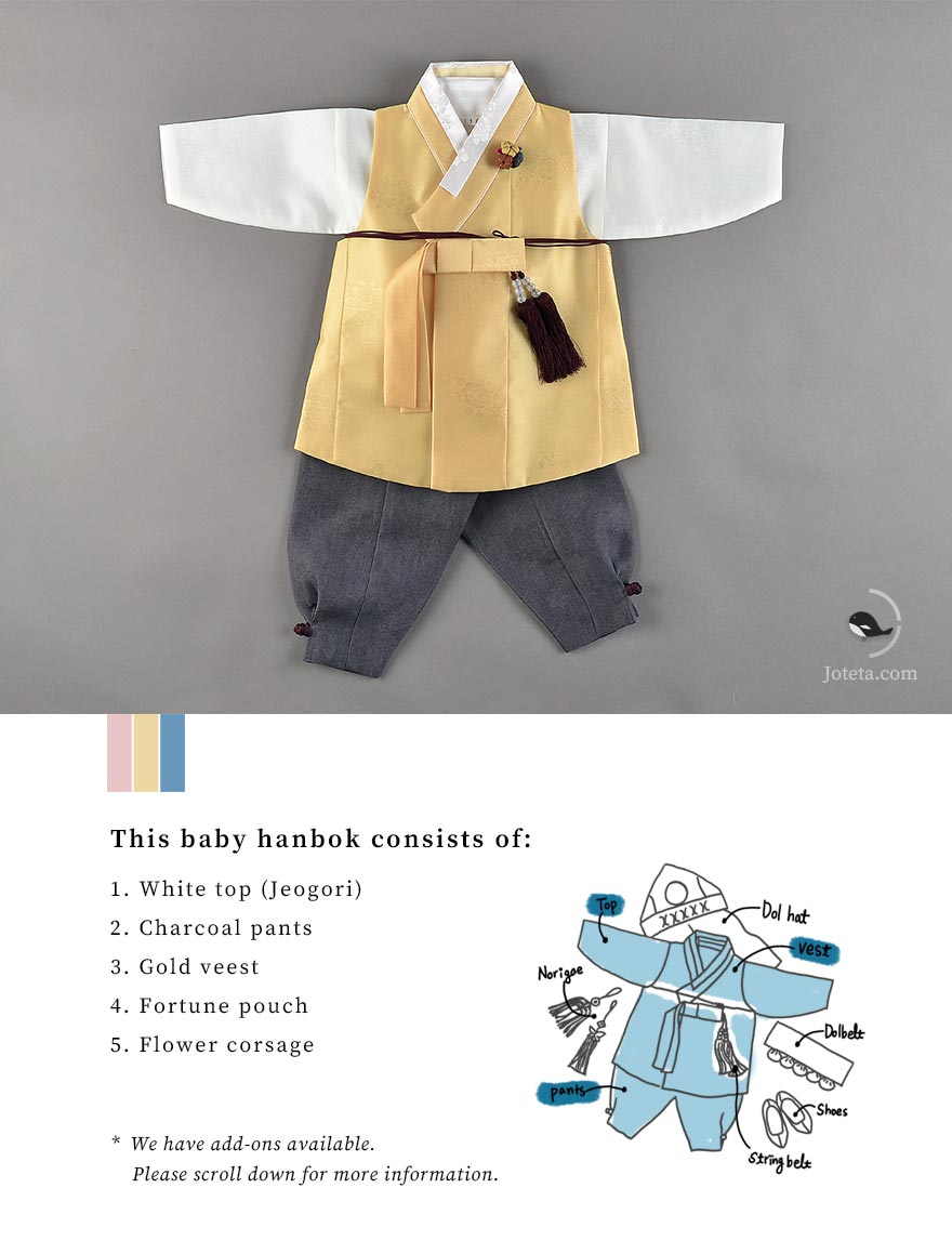 Gold hanbok which is a rarity. Rarely any hanboks come in this color and actually, yellow was a color only reserved for kings in the olden Korean days. Now, this color is available for all to use and is well used for this baby hanbok that looks astonishing.