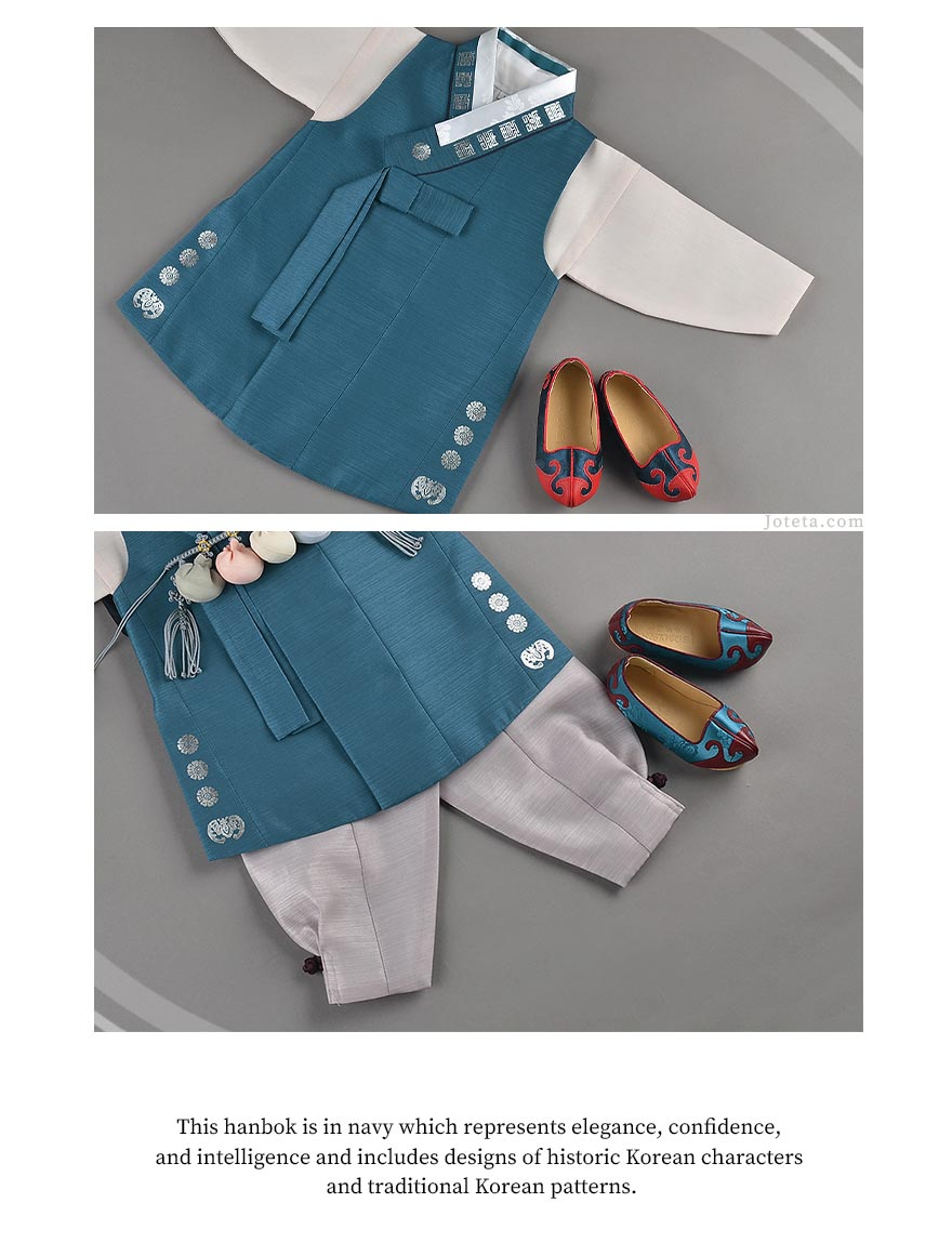 Traditional hanbok shoes worn by the baby boy while wearing this hanbok. This is one of our more appealing baby boy hanboks due to the elegant traditional Korean patterns embroidered on it. Although it's priced slightly higher, the aesthetics of it fully justify the extra cost.
