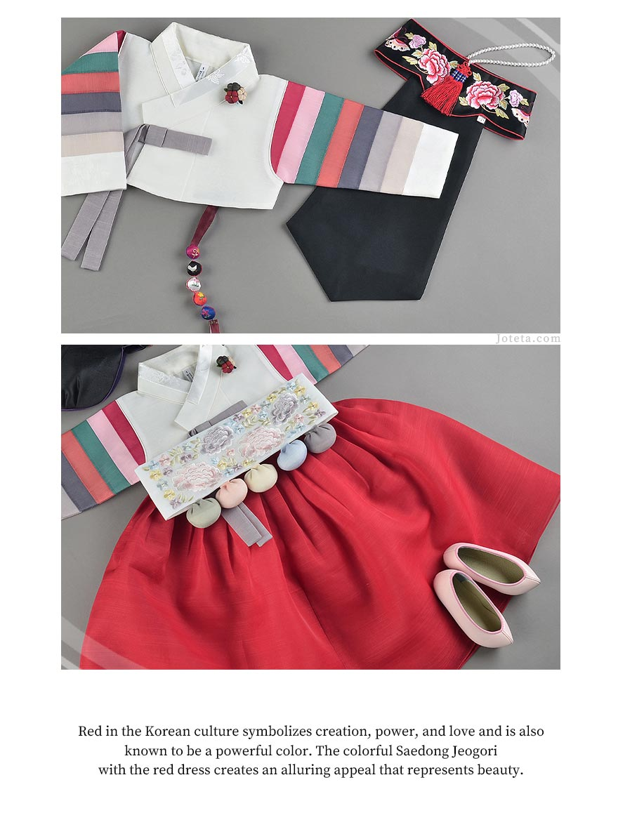 Here you can see what the crimson baby girl hanbok looks like as an entire outfit. Your baby girl will feel so loved wearing this hanbok.