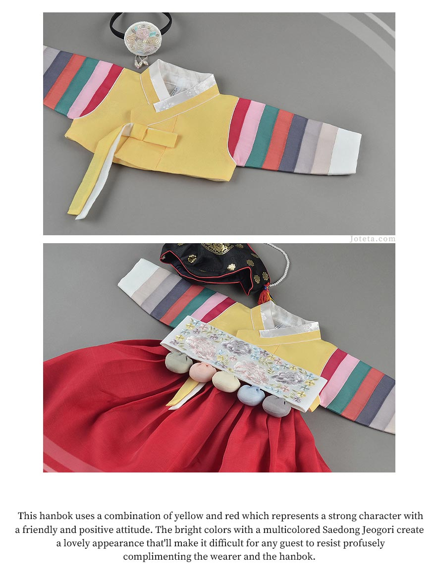 Notice how the Dol belt matches perfectly with the baby girl hanbok in gold and ruby.