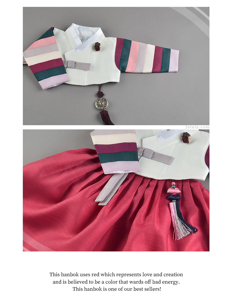 The truly magnificent baby girl hanbok in ruby will make your baby girl feel like a Queen.