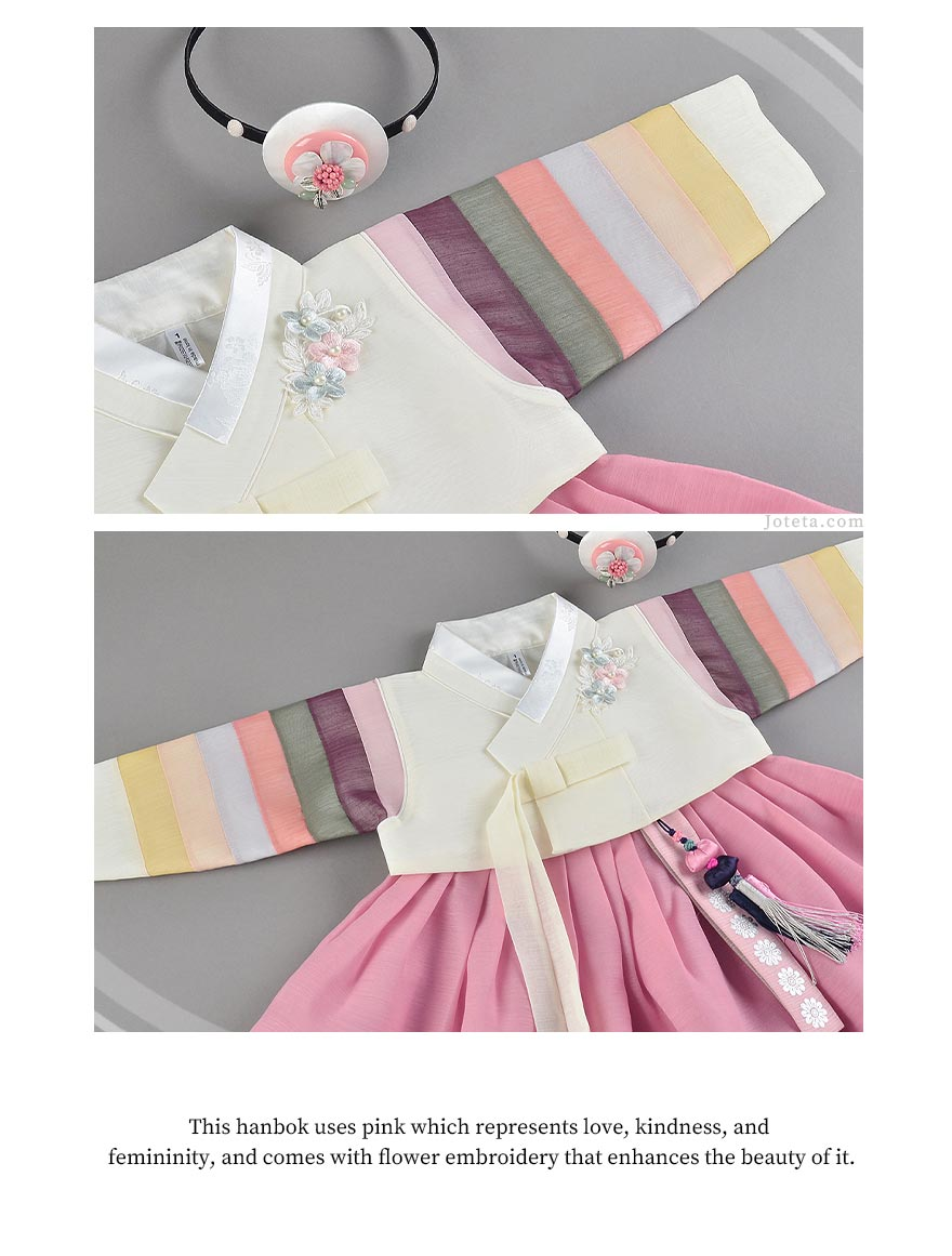 Accessorize the baby girl hanbok in blush with a hairband to accentuate the elegance and class of this hanbok.