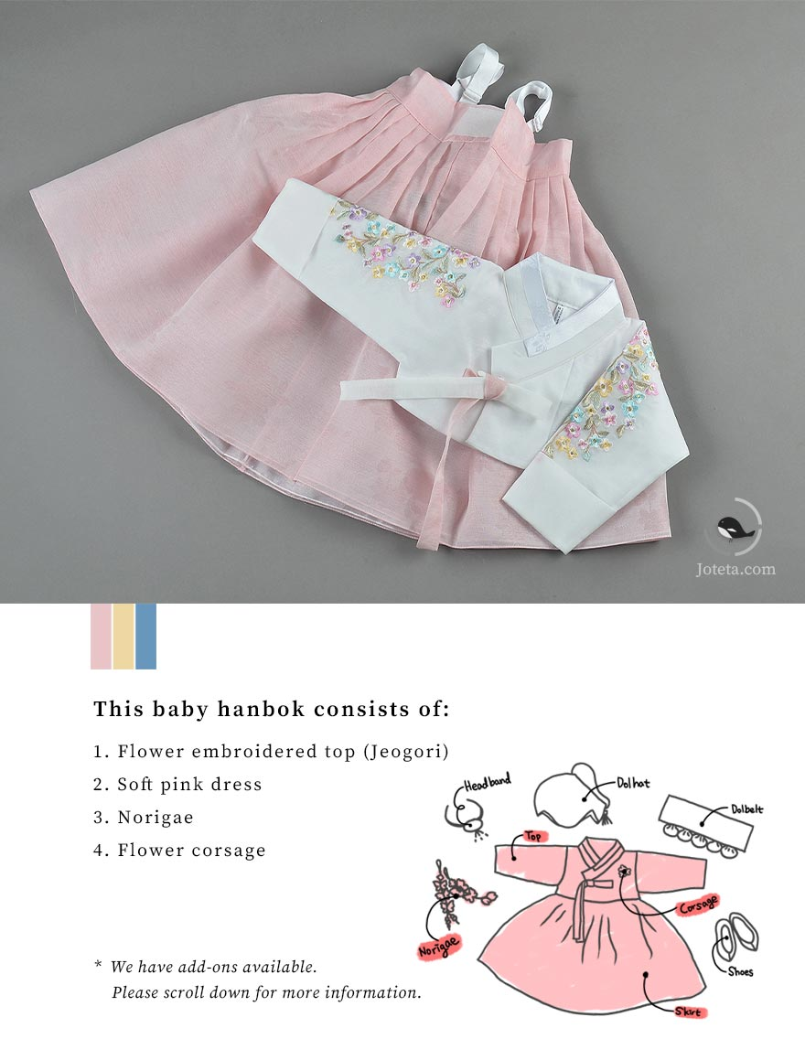 Baby girl wearing this hanbok for her baek-il birthday. The girl cannot get enough of the doljabi items in front of her.