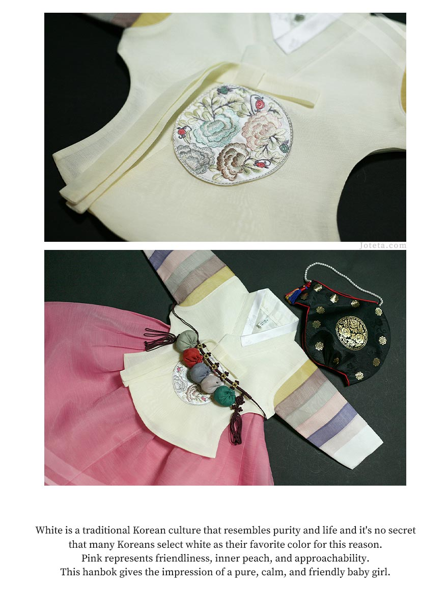 The level of detail on the deep rose and milky-white baby girl hanbok helps improve the aesthetics of it and also is gorgeous.