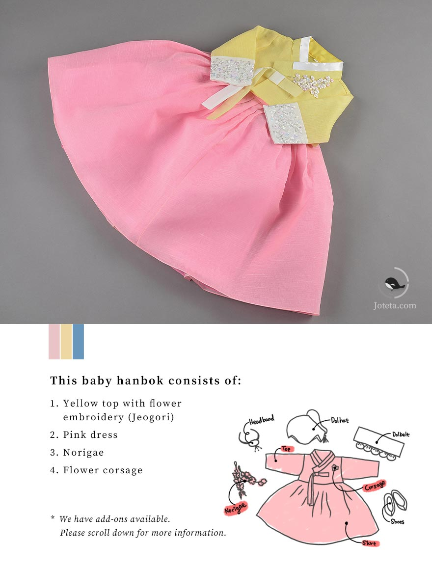 We call this design an artsy baby girl hanbok because of the floral patterns. In the past, flowers were used extensively in the art and carries that representation to Koreans. We follow traditional Korean culture with our hanboks.
