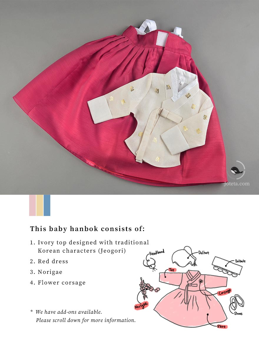 This beautiful hanbok is in ivory and red. it comes with traditional Korean characters embroidered on the Jeogori to make it look very traditional. The baby girl who wears this will look like a traditional Korean baby who's celebrating her Baek-il like a true indigenous native of Korea.
