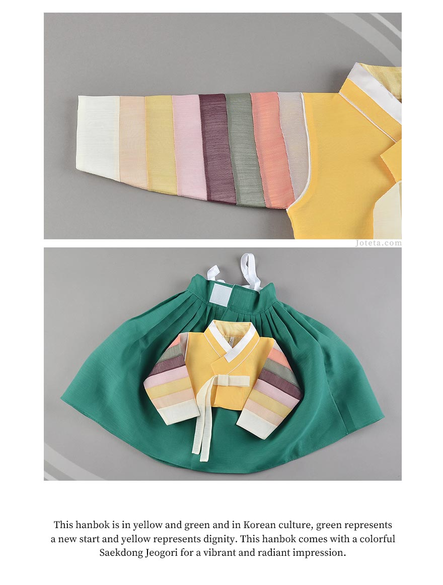 You can really notice the multicolored sleeves in this up close picture and see the detail of the baby girl hanbok in dark yellow and deep green.
