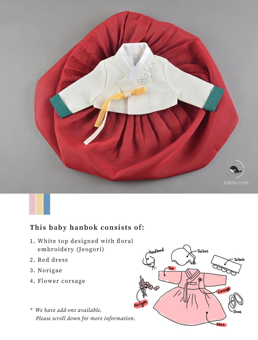 A beautiful hanbok for baby girls in red that reveals the magnificence of the dress that's revealed here.