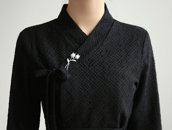 You can see the checkered pattern in this coal colored modern hanbok blouse.